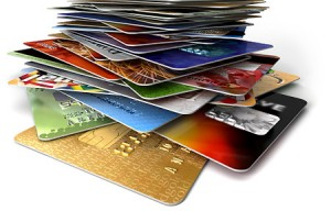 Stack of credit cards, low angle view, (digital)   Original Filename: credit cards.jpg